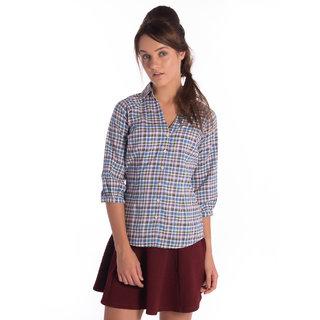 Bombay High Cotton Green Blue Slim Shirt