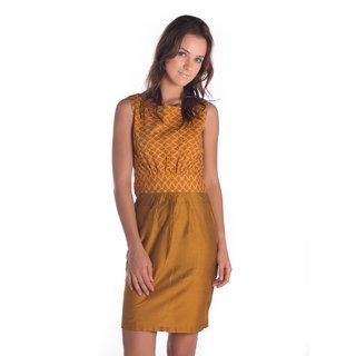 Co.In Silk Mustard Regular Dress