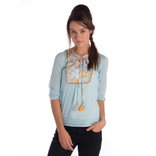 Co.In Cotton Blue Comfort Fit Top