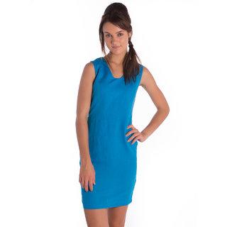 Bombay High Cotton Linen Blue Slim Dress