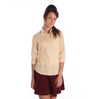 Bombay High Cotton Yellow 3/4 Sleeves Slim Shirt