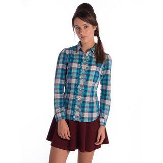 Bombay High Cotton Blue Checks Slim Shirt