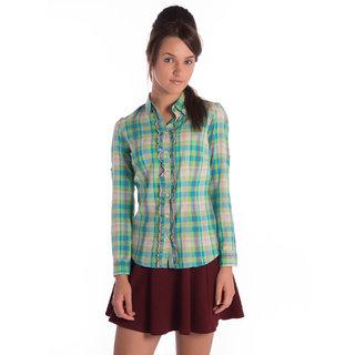 Bombay High Cotton Green Checks Slim Shirt