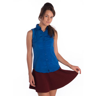 Bombay High Polytser Blue Half Sleeves Slim Shirt