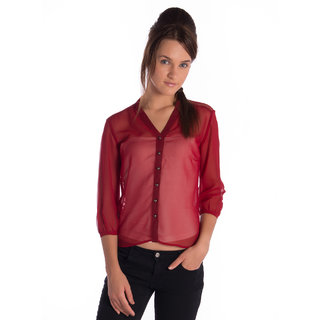 Vanity Collection Polyester Red 3/4Th Sleeves Slim Top