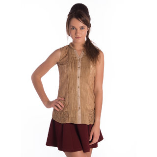 Vanity Collection Polyester Brown Regular Top