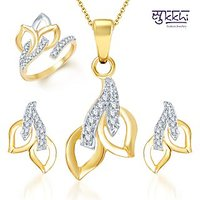 Sukkhi Beguilling Classy Gold And Rhodium Plated Cz Pendant Set And Ring Combo
