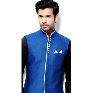 Brand New Men's Royal Blue Jute Nehru Jacket Waistcoat