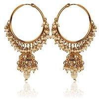 White Hoop Earrings With Pearls By Adiva Abswe0Bi0028