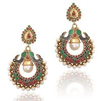 Stylish Red Green Peacock Meenakari Pearl Earrings, Ethnic Indian Jewelry
