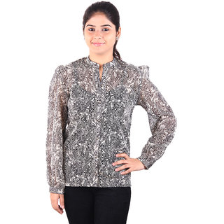Younky Golden Black Tiger Print Poly Georgette Full Sleeves Shirt