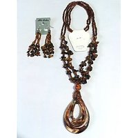 Fancy Glass Beaded Brown Pendant Set With Earrings - 798