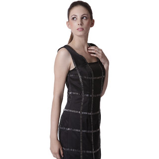 Black Sleeveless Chequered Party Dress