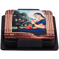 Kabootar Ja Ja  Wooden Tea Coaster (Set Pack Of 6)