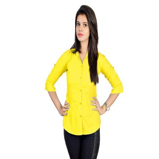 Ladies Shirt In Cotton Yellow