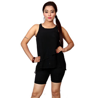 Jiwan Classy Black Polyester Top