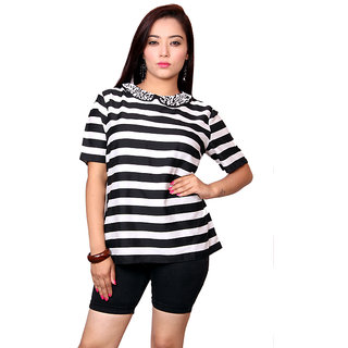 Jiwan Classy White & Black Polyester Top
