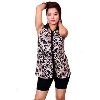 Jiwan Brown Polyester Top