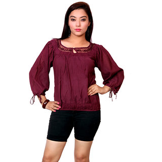 Jiwan Purple Cotton & Viscose Top
