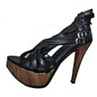 B-22 High Heel Sandel Pure Leather Base With Wooden Looks Black Color