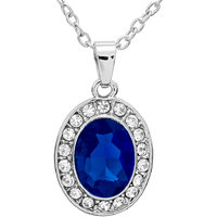 Elegant Austrian Crystal Studded Pendant With Chain - DEEP BLUE