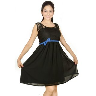 Rhythmic Trendz Black Plain Dress