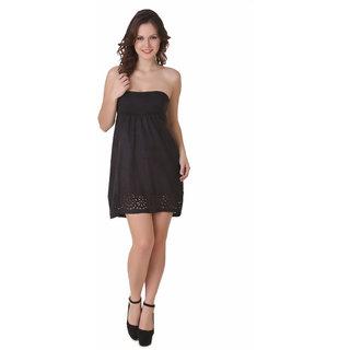 NOD Tory Black Cutout Suede Dress