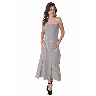NOD Helen Slate Gray Striped Maxi Dress