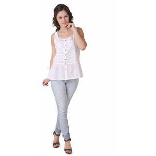 NOD Laura Pure White Sleeveless Shirt