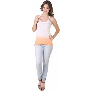 NOD Kylie Knotted Back Cream Orange Tank Top