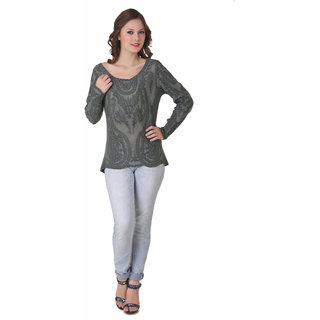 NOD Angela Cyan Green Embroidered Top