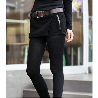 Hi Fashion : Black Color Double Zipper Woolen Short  Pant Size:M