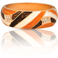 Just Women Stylish Enameled Gold Plated Bracelet With Zirconia Stones(Brown)