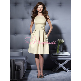 Bridesmaid Dresses Hot Selling A Line Knee Length Satin Bridesmaids Dress PADDED