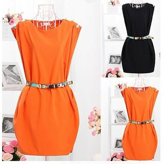CREW NECK SLEEVELESS BUTTON-SHOULDER TUNIC DRESS WITH BELT