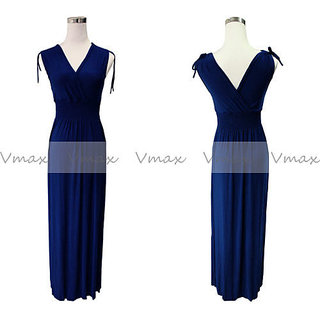 Solid Color V Neck Summer Maxi Dress LONG DRESS FREE SIZE BLUE