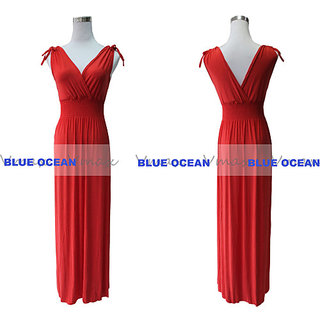 Solid Color V Neck Summer Maxi Dress LONG DRESS FREE SIZE RED