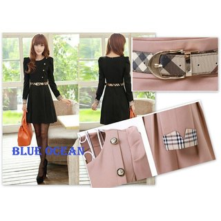 Winter Fashion Plaid Patchwork Long Sleeve A-Line Dress With HIGH QUALITY BELT
