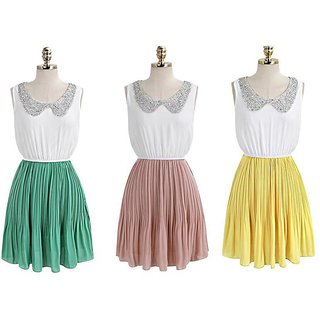 Women's Fashion Doll Lapel Collar Elastic Waist Pleated Sleeveless GREEN