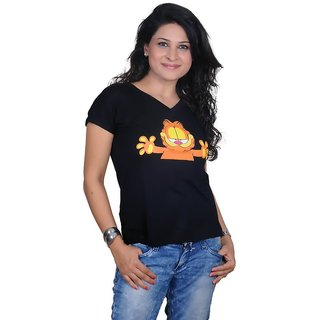 Golden Couture Garfield Printed Black Top
