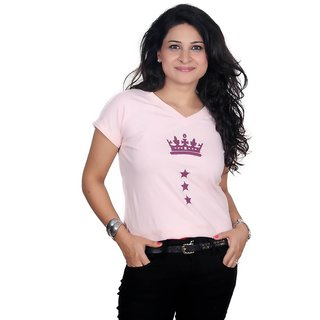 Golden Couture Queens Crown Pink Printed Top