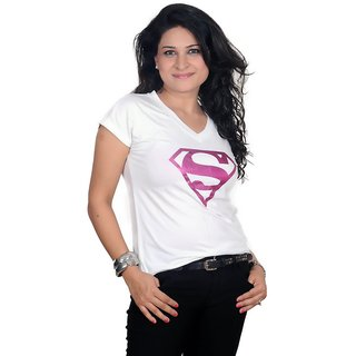 Golden Couture Elegant Super-Girl White Top