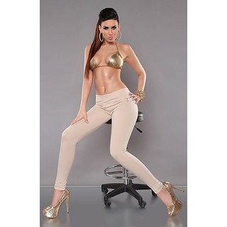 Hot Beige Treggings New Jeggings Zip Leggings With Pocket Western Wear Daily Fun