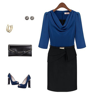 BLUE MEDIUM SIZE Cowl Neck Slim Fit Formal Pencil Dress WITH BACK ZIPPER - 6117882