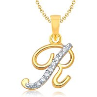 "Vk Jewels Alphabet Collection Initial Pendant Letter ""R"" Gold & Rhodium Plated"