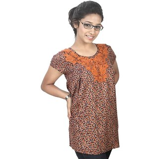 Western Top Adrianna Brown Printed For Women