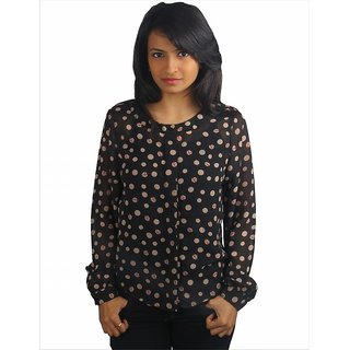 Western Top Nicole Black Printed For Women