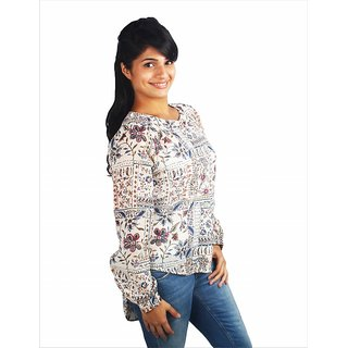 Western Top Nicole Cream Printed For Women