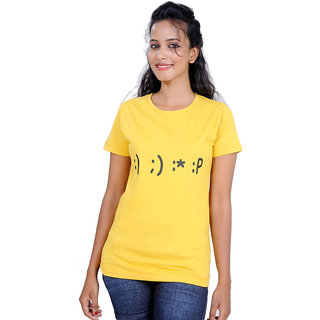 Kapdaclick Crew Neck Cotton Tees Yellow