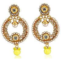 Firstloot Vivid Polki Earrings In Yellow & White Colour